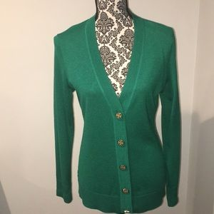 Tory Burch green cardigan with gold logo buttons
